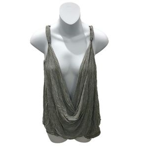 Free People Grey Sleeveless Cowl Neck Blouse